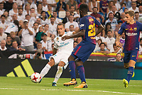 Real Madrid's Lucas Vazquez and FC Barcelona's Samuel Umtiti during Supercup of Spain 2nd match at Santiago Bernabeu Stadium in Madrid, Spain August 16, 2017. (ALTERPHOTOS/Borja B.Hojas)