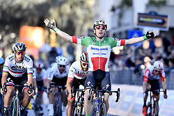 March 15, 2019 - Foligno, Perugia, Italia - Foto LaPresse/Fabio Ferrari .15/03/2019 Pomarance (Italia) .Sport Ciclismo.Tirreno-Adriatico 2019 - edizione 54 - da Pomarance a Foligno  (226 km) .Nella foto: Elia Viviani (Deceuninck - Quick-Step) . vincitore di tappa..Photo LaPresse/Fabio Ferrari .March 15, 2018 Pomarance (Italy).Sport Cycling.Tirreno-Adriatico 2019 - edition 54 - Pomarance to Foligno (140 miglia) .In the pic:Elia Viviani (Deceuninck - Quick-Step)  winner of race (Credit Image: © Fabio Ferrari/Lapresse via ZUMA Press)