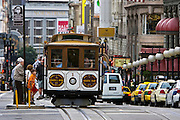 San Francisco Cable Car stops to allow passengers to board, California, United States of America