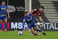 Football - 2020 / 2021 Sky Bet Championship - AFC Bournemouth vs. Nottingham Forest - The Vitality Stadium<br /> <br /> Miguel Angel Guerrero of Nottingham Forest is fouled by Bournemouth's Lewis Cook during the Championship match at the Vitality Stadium (Dean Court) Bournemouth <br /> <br /> COLORSPORT/SHAUN BOGGUST