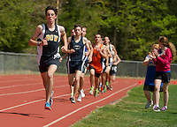 Andrew Weckstein of Bow competes in the mens 1600 meter run during the Merrimack Valley Invitational track meet Saturday.   (Karen Bobotas/for the Concord Monitor)