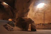 Israel, Judean plain, Beit Govrin National Park, a bell shaped man-made cave carved in the third century B.C.E as quarries, burial grounds, storerooms, workshops, hiding places and spaces for raising doves.