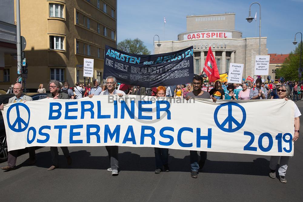 Berlin, Germany - 20.04.2019 <br /> <br /> Traditional Easter march of the Berlin peace movement through Berlin-Mitte.<br /> <br /> Traditioneller Ostermarsch der Berliner-Friedensbewegung zieht durch Berlin-Mitte.<br /> <br /> Photo: Bjoern Kietzmann