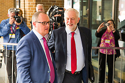 © Licensed to London News Pictures. 12/09/2017. Brighton, UK. Leader of the Labour party, JEREMY CORBYN MP is greeted by the Deputy General Secretary of the TUC PAUL NOWAK as he arrives at the 2017 TUC Congress in Brighton where he will be speaking later this afternoon. Photo credit: Hugo Michiels/LNP