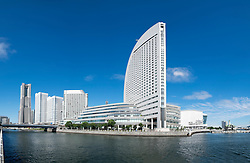 Skyline of Minato Mirai with Pacifico and Intercontinental Hotel on the right in Yokohama Japan