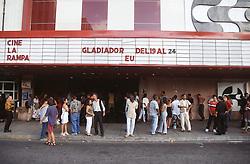 People standing outside the La Rampa cinema in Vedado; Havana; Cuba; waiting to see the film Gladiator,