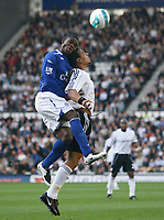 Photo: Steve Bond.<br /> Derby County v Everton. The FA Barclays Premiership. 28/10/2007. Joseph Yobo (L) challanges hard on Giles Barnes (R)
