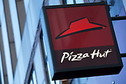Sign for restaurant chain Pizza Hut.
