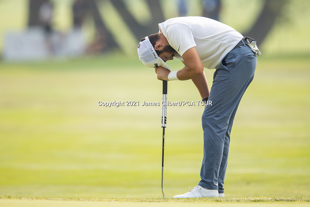FARMINGTON, UT - AUGUST 08: Hayden Buckley reacts after missing a putt on the 17th green during the final round of the Utah Championship presented by Zions Bank at Oakridge Country Club on August 8, 2021 in Farmington, Utah. (Photo by James Gilbert/PGA TOUR via Getty Images)