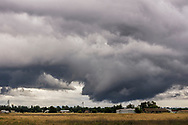 Severe storm clouds with rotating funnel cloud base, Redding, Shasta County, California