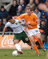 Photo: Paul Greenwood.<br />Blackpool v Norwich City. The FA Cup. 27/01/2007. Norwich's Youssef Safri, left, battles with Andy Morrell