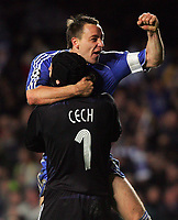 Chelsea FC vs Liverpool FC Champions League S-Final 2nd Leg 30/04/08<br /> Photo Nicky Hayes/Fotosports International<br /> Terry and Cech celebrate victory.