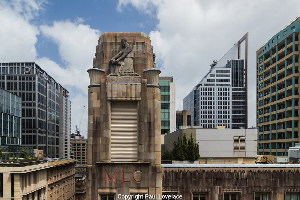 Open Sydney presented by Sydney Living Museuems. This event every year allows Sydneysiders to visit 40 of the city's most significant buildings and spaces across the CBD. View of former MLC Building from Macquarie Bank roof.