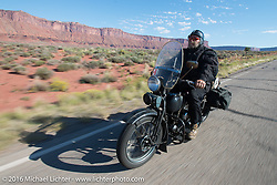 Bob Priske riding his 1932 Harley-Davidson V on Utah Highway 128 north of Moab during stage 11 (289 miles) of the Motorcycle Cannonball Cross-Country Endurance Run, which on this day ran from Grand Junction, CO to Springville, UT., USA. Tuesday, September 16, 2014.  Photography ©2014 Michael Lichter.