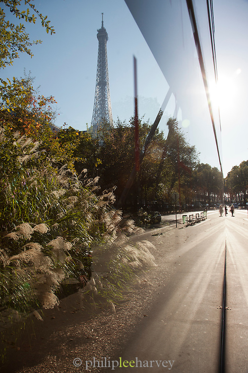 The Eiffel Tower reflected in the glass of Musee du Quai Branly in Paris, France