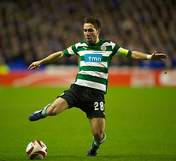 LIVERPOOL, ENGLAND - Tuesday, February 16, 2010: Sporting Clube de Portugal's Joao Moutinho in action against Everton during the UEFA Europa League Round of 32 1st Leg match at Goodison Park. (Photo by: David Rawcliffe/Propaganda)