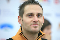 Ales Gorza at press conference of Slovenian men and women alpine skiing national team before new season 2008/2009 in Hervis, City park, BTC, Ljubljana, Slovenia, on October 20, 2008.  (Photo by: Vid Ponikvar / Sportal Images)