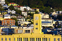 The Central Fire Station with houses on the hills in background, Wellington, New Zealand