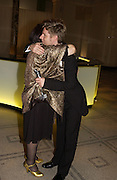 Suzy Menkes and Christopher Bailey. British Fashion awards 2005. V. & A. Museum. Cromwell Rd. London.   10  November 2005 . ONE TIME USE ONLY - DO NOT ARCHIVE © Copyright Photograph by Dafydd Jones 66 Stockwell Park Rd. London SW9 0DA Tel 020 7733 0108 www.dafjones.com