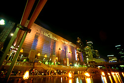 Stock photo of The Wortham Center in downtown Houston at night