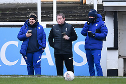 Emma Hayes manager of Chelsea Women chats with Matt Beard manager of Bristol City Women prior to kick off  - Mandatory by-line: Ryan Hiscott/JMP - 14/02/2021 - FOOTBALL - Twerton Park - Bath, England - Bristol City Women v Chelsea Women - FA Womens Super League 1