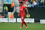 Liverpool's Emre Can in action. Pre-season friendly match, Preston North End v Liverpool at Deepdale in Preston, England on Saturday 19th July 2014.<br /> pic by Chris Stading, Andrew Orchard sports photography.