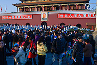 Crowds are constantly gathered around the front of the Forbidden City in Beijing.