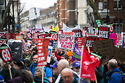 Peoples Assembly March for Health, Homes, Jobs and Education. End Austerity Now! march 16th April 2016 in London, United Kingdom. A plackard reads Dodgy Dave is selling off the peoples rights. 50.000 thousand plus turned out to protest against the Conservative Government and their austerity policies and against tax evasions revealed in the Panama Papers.
