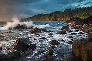 Waves crashing on coastal rocks at Laupāhoehoe Point Beach Park The Big Island of Hawai'i, Hawaii