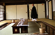 LIVING ZEN - HOSHINJI MONASTERY, OBAMA-JAPAN..Preparing the table for lunch. Eating is also part of the practice and the monks have to follow certain very strict rules. It is considered to have equal importance with Zazen meditation.