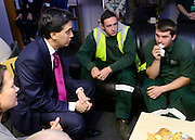 © Licensed to London News Pictures. 05/11/2012. London, UK Ed Miliband talks to Islington Council employees whose council already pays a Living wage to its employees. Labour leader Ed Miliband Delivers a speech on the Living Wage at Islington Town Hall today 5th November 2012 This week is Living Wage Week. Photo credit : Stephen Simpson/LNP