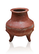 Hittite terra cotta pot on trident legs. Hittite Old Period, 1650 - 1450 BC.  Hattusa Boğazkale. Çorum Archaeological Museum, Corum, Turkey. Against a white bacground. .<br />  <br /> If you prefer to buy from our ALAMY STOCK LIBRARY page at https://www.alamy.com/portfolio/paul-williams-funkystock/hittite-art-antiquities.html  - Hattusa into the LOWER SEARCH WITHIN GALLERY box. Refine search by adding background colour, place,etc<br /> <br /> Visit our HITTITE PHOTO COLLECTIONS for more photos to download or buy as wall art prints https://funkystock.photoshelter.com/gallery-collection/The-Hittites-Art-Artefacts-Antiquities-Historic-Sites-Pictures-Images-of/C0000NUBSMhSc3Oo