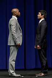 LOS ANGELES, CA - MAR 10 Floyd Mayweather and Manny Pacquiao faceoff before the Mayweather vs Pacquiao press conference at the Nokia Theater in Los Angeles, California USA to promote their upcoming bout at the MGM Grand in Las Vegas, NV May 2, 2015. This is the ony presser. 2015 Feb 9. Byline, credit, TV usage, web usage or linkback must read SILVEXPHOTO.COM. Failure to byline correctly will incur double the agreed fee. Tel: +1 714 504 6870.