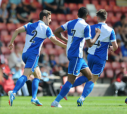 Tom Lockyer of Bristol Rovers celebrates his goal with team mates - Mandatory by-line: Dougie Allward/JMP - 25/07/2015 - SPORT - FOOTBALL - Cheltenham Town,England - Whaddon Road - Cheltenham Town v Bristol Rovers - Pre-Season Friendly
