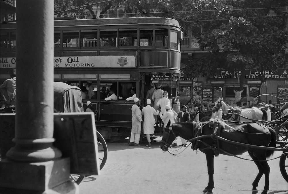 Mohammedans Entering Tram, Bombay, India, 1929