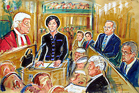 COPYRIGHT PRISCILLA COLEMAN ( ITN ARTIST )PERMISSION MUST BE SOUGHT FOR USE- 07693 237539-NOT FOR USE IN TELEVISION.ARTWORK SHOWS: MARY ARCHER ON THE STAND IN THE TRIAL OF HER HUSBAND JEFFREY ARCHER. HER SON'S WILLIAM AND JAMES ARE IN THE BACKGROUND WITH NICHOLAS PURNELL QC IN THE FOREGROUND..ARTWORK BY: PRISCILLA COLEMAN ( ITN ARTIST )
