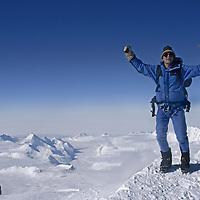 Ellsworth Mountains, Antarctica. A climber atop Mount Shinn, third highest peak on the continent.