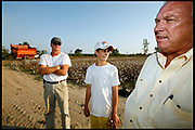 Satartia, Mississippi, USA, 20060916:  Billy Joe Ragland, his son Ryan and his grandson Damien trying to get their cotton fields harvested despite the damages from the drought. The plants are too small to be picked efficiently, reducing the harvest by 30%. Photo: Orjan F. Ellingvag/ Dagens Naringsliv/ Corbis