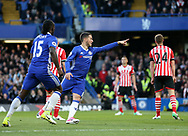 Chelsea's Eden Hazard celebrates scoring his sides opening goal during the Premier League match at Stamford Bridge Stadium, London. Picture date: April 25th, 2017. Pic credit should read: David Klein/Sportimage