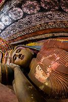 Reclining Buddha, Rakkhiththakanda Len Viharaya Cave Temple, near Ella, Uva Province, Sri Lanka.