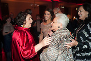 SUSY MENKES; MARGHERITA MISSONI; ROSITA MISSONI; ANGELA MISSONI, IMG HERALD TRIBUNE HERITAGE LUXURY PARTY.- Celebration of Heritage Luxury and 10 years of the International Herald Tribune Luxury Conferences. North Audley St. London. 9 November 2010. -DO NOT ARCHIVE-© Copyright Photograph by Dafydd Jones. 248 Clapham Rd. London SW9 0PZ. Tel 0207 820 0771. www.dafjones.com.