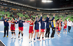 Players of Valcea celebrate after winning the handball match between RK Krim Mercator and CS Oltchim RM Valcea (ROU) of Women's EHF Champions League 2011/2012, on February 4, 2012 in Arena Stozice, Ljubljana, Slovenia. Valcea defeated Krim 31-25. (Photo By Vid Ponikvar / Sportida.com)