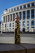 A City bollard and the Unilever Building at Blackfriars, on 27th October 2017, in the City of London, England.
