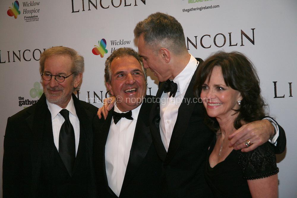 Steven Spielberg, Jim Giamopulos, Daniel Day-Lewis, Sally Field at the Lincoln film premiere Savoy Cinema in Dublin, Ireland. Sunday 20th January 2013.
