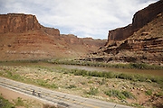 SHOT 5/7/16 8:39:02 AM - Moab is a city in Grand County, in eastern Utah, in the western United States. Moab attracts a large number of tourists every year, mostly visitors to the nearby Arches and Canyonlands National Parks. The town is a popular base for mountain bikers and motorized offload enthusiasts who ride the extensive network of trails in the area. Includes images of Scenic Byway 128, Fisher Towers and downtown Moab. (Photo by Marc Piscotty / © 2016)