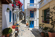 Qute colorful street in Skopelos island