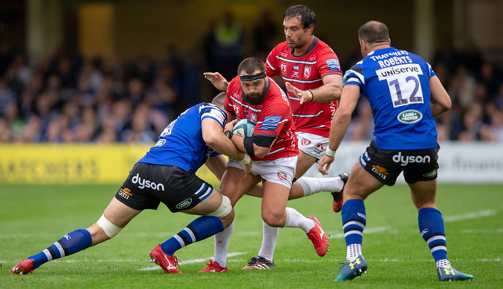 Gloucester Rugby's James Hanson in action during todays match<br /> <br /> Photographer Bob Bradford/CameraSport<br /> <br /> Gallagher Premiership - Bath Rugby v Gloucester Rugby - Saturday September 8th 2018 - The Recreation Ground - Bath<br /> <br /> World Copyright © 2018 CameraSport. All rights reserved. 43 Linden Ave. Countesthorpe. Leicester. England. LE8 5PG - Tel: +44 (0) 116 277 4147 - admin@camerasport.com - www.camerasport.com