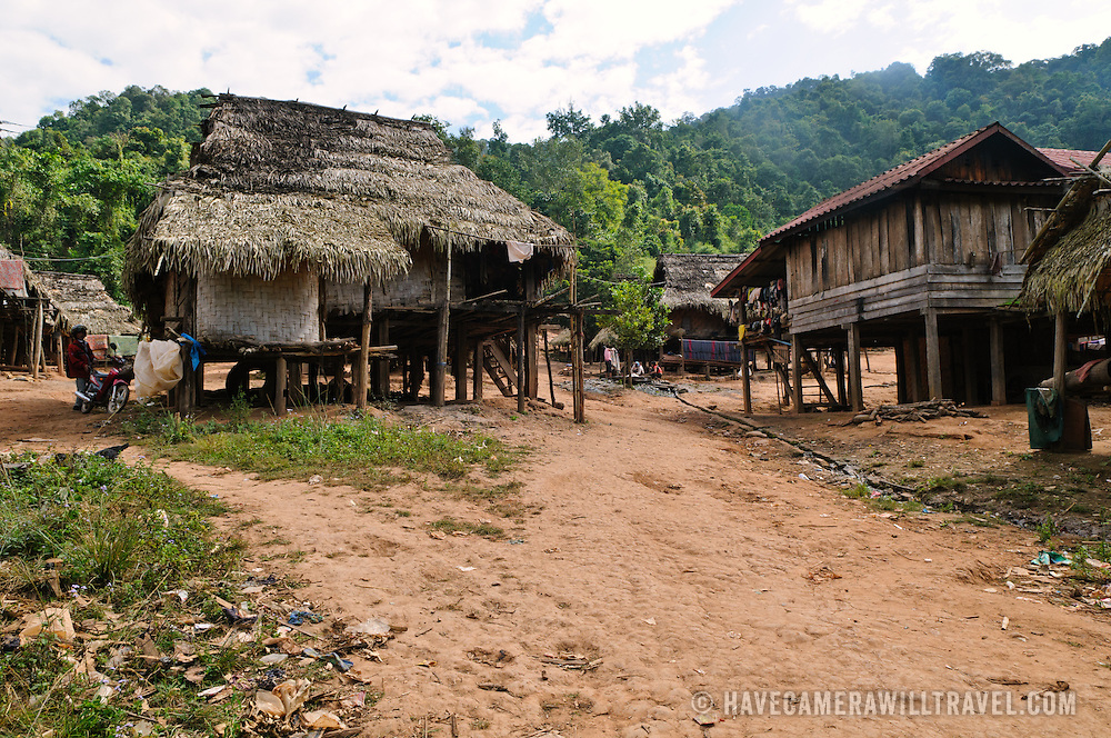 A dirt street in Lakkhamma Village in Luang Namtha province in northern Laos. Lakkhamma Village was established as a joint project between the Lao government and the European Commission.