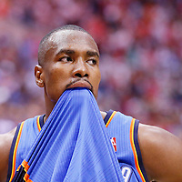11 May 2014: Oklahoma City Thunder forward Serge Ibaka (9) looks dejected at the end of the Los Angeles Clippers 101-99 victory over the Oklahoma City Thunder, during Game Four of the Western Conference Semifinals of the NBA Playoffs, at the Staples Center, Los Angeles, California, USA.