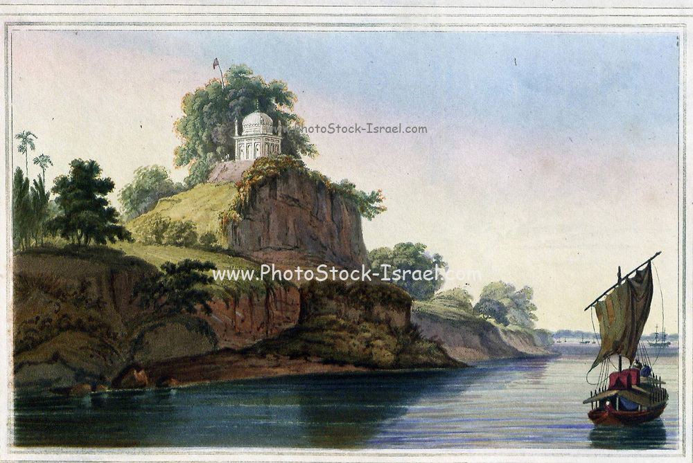 Hindoo Temple Near Currah [Kara], on the River Ganges, November 1796 The banks of the Ganges are here very lofty, steep, and picturesque; but are subject to considerable alterations in the rainy season, as the river then rises to the height of thirty feet.' At that time, before the coming of railways, boats like the one in this view with a big sail were widely used for transport. It was the Daniells' baggage boat, and their palanquins can be seen lashed to the roof. Their own pinnace budgerow is in the distance. The actual site of the view is Naubasta, below the ancient city of Kara on the Ganges, with a small 18th century temple crowning the bluff. From the book ' Oriental scenery: one hundred and fifty views of the architecture, antiquities and landscape scenery of Hindoostan ' by Thomas Daniell, and William Daniell, Published in London by the Authors January 1, 1812